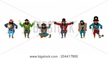 Pirate Set Poses And Motion. Filibuster Happy And Yoga.  Buccaneer Sleeping And Angry. Rover Guilty