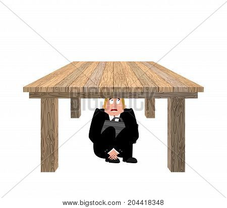 Businessman Scared Under Table. Frightened Business Man Under Work Board. Boss Fear Office Desk. Vec