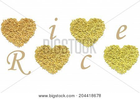 Paddy rice heart shape on white background
