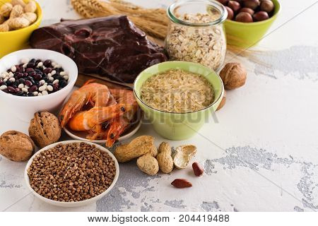 Food rich of copper Cu. Healthy diet for high hemoglobin, against varicose and anemia. Top view