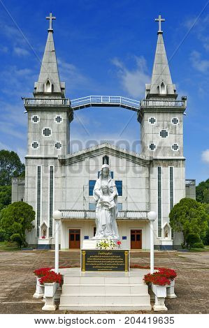Nakhon Phanom, Thailand - May 2017: Saint Anna Nong Saeng Catholic Church, Religious Landmark Of Nak