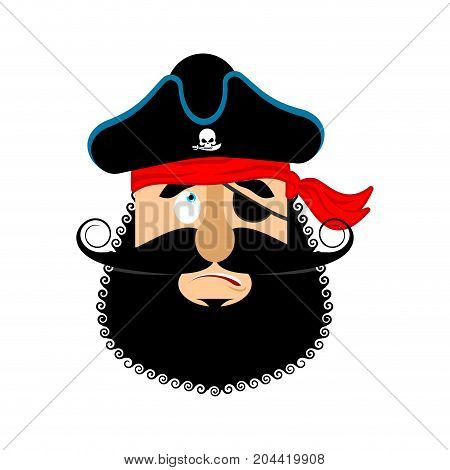 Pirate Guilty Emoji Head. Filibuster Culpable Emotion Face. Buccaneer Delinquent Avatar. Vector Illu