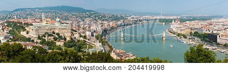 Panorama of Budapest in Hungary with the Buda Castle on the left side and the Chain Bridge on the right side.