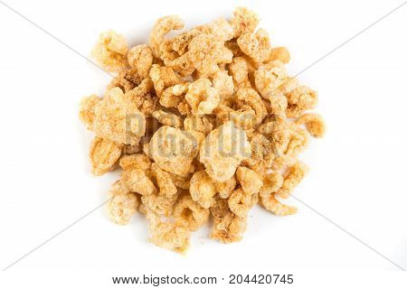 Pile Of Pork Rinds Isolated On A White Background