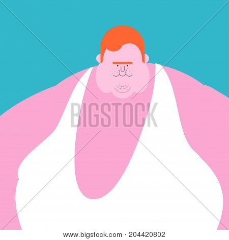 Redhead Fat Guy. Glutton Thick Man. Fatso Vector Illustration