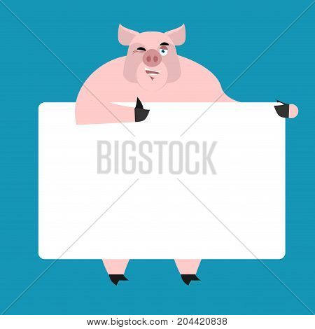 Pig Holding Banner Blank. Swine And White Blank. Piggy Joyful Emotion. Farm Animal And Place For Tex