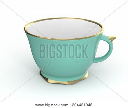Isolated antique porcelain turquoise tea cup with gold edging on white background. Vintage crockery. 3D Illustration.