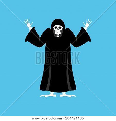 Grim Reaper Guilty. Death Oops. Skeleton In Black Cloak Surrenders. Vector Illustration