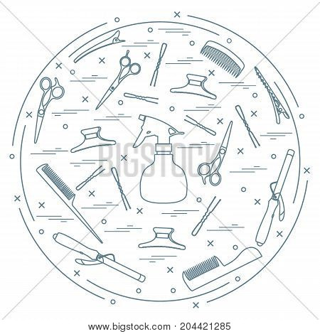 Vector Illustration Elements Arranged In A Circle: Curling Iron, Hairclip, Combs, Pins, Barrettes, S