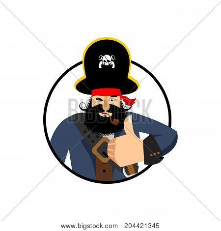 Pirate Thumbs Up. Filibuster Winks Emoji. Buccaneer Cheerful. Vector Illustration