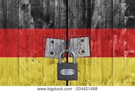 Germany flag on door with padlock close