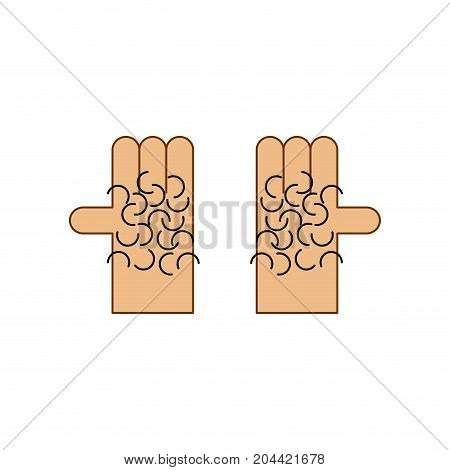 Hairy Palm Of Hand Isolated. Vector Illustration