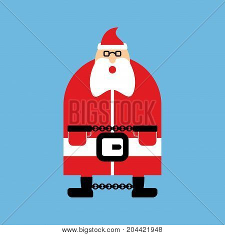 Arrested Santa Claus In Handcuffs. Vector Illustration
