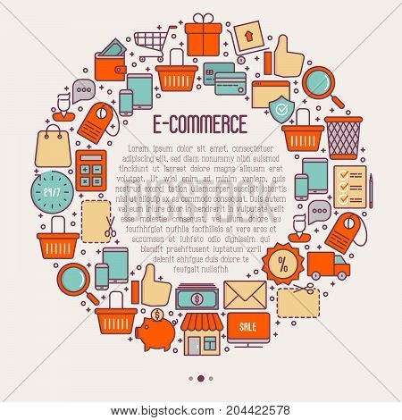 E-commerce, shopping concept in circle with thin line icons: shopping cart, payment method, delivery, sale. Vector illustration for background of banner, web page, print media with place for text.