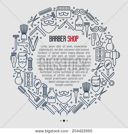 Barber shop concept in circle with thin line icons of shaving accessories and place for text inside. Vector illustration for web page, banner, print media.