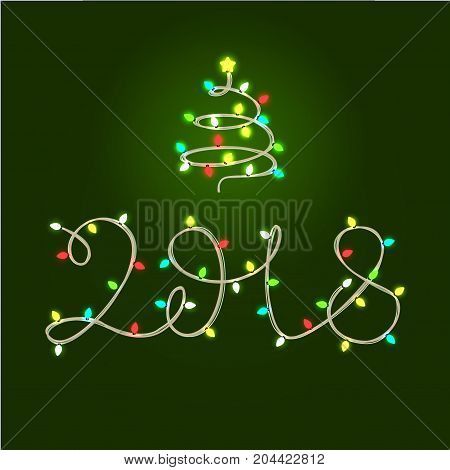 Two thousand eighteen light garland lettering and fir tree. New Year Day design element for greeting cards, posters, leaflets and brochures.