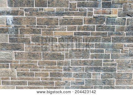 Wall of hand hewn rough stone Halifax Nova Scotia Canada