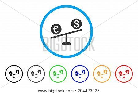 Currency Trade Swing icon. Vector illustration style is a flat iconic currency trade swing gray rounded symbol inside light blue circle with black, gray, green, blue, red, orange color versions.