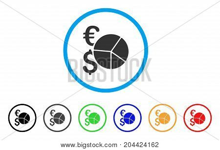 Dollar And Euro Pie Chart icon. Vector illustration style is a flat iconic dollar and euro pie chart grey rounded symbol inside light blue circle with black, gray, green, blue, red,