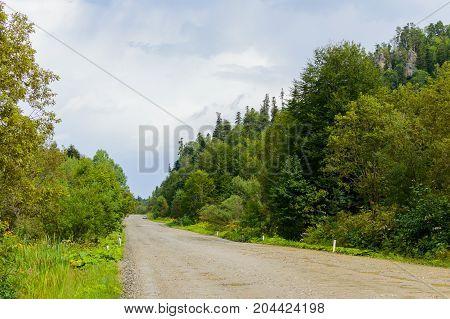 Dirt Road In The Mountains Of Adygea Republic, Krasnodar Region, Russia