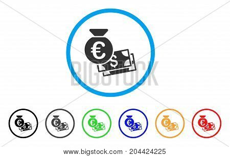 Euro And Dollar Cash icon. Vector illustration style is a flat iconic euro and dollar cash grey rounded symbol inside light blue circle with black, gray, green, blue, red, orange color variants.