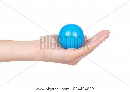 Ping-pong Ball In Hand Isolated On White Background