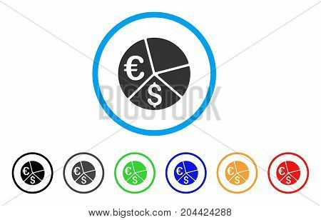 Euro And Dollar Pie Chart icon. Vector illustration style is a flat iconic euro and dollar pie chart grey rounded symbol inside light blue circle with black, gray, green, blue, red,