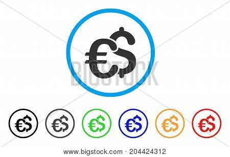 Euro And Dollar Symbols icon. Vector illustration style is a flat iconic euro and dollar symbols grey rounded symbol inside light blue circle with black, gray, green, blue, red,