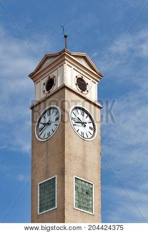 Vietnamese Memorial Clock Tower historical landmark of Nakhon Phanom Province built by Vietnamese people in 1960