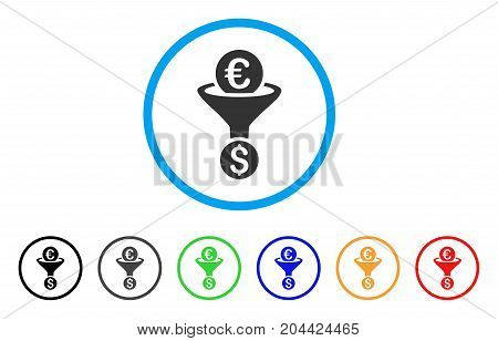 Euro Dollar Conversion Funnel icon. Vector illustration style is a flat iconic euro dollar conversion funnel grey rounded symbol inside light blue circle with black, gray, green, blue, red,