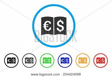 International Catalog icon. Vector illustration style is a flat iconic international catalog gray rounded symbol inside light blue circle with black, gray, green, blue, red, orange color versions.