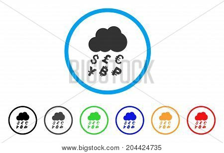 Money Rain icon. Vector illustration style is a flat iconic money rain grey rounded symbol inside light blue circle with black, gray, green, blue, red, orange color additional versions.