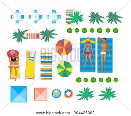 Summer vacation. People having a rest on beach. Top view landscaping architecture city park. Accessories and leisure items, interior and surroundings. Natural structure. Vector illustration isolated.