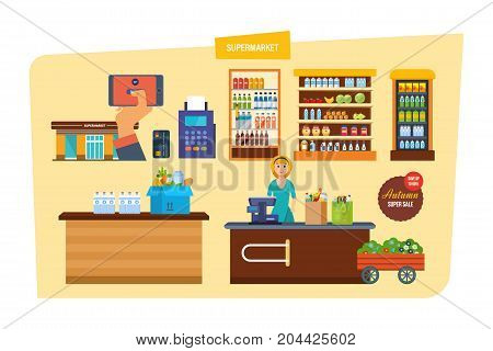 Supermarket with products shelves. Interior of room inside. Grocery items, retail. Shop, supermarket, mall. Autumn super sale, discount. Seller-cashier, behind cash register Vector illustration