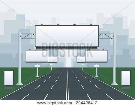 Big blank billboard in cityscape background shape. Billboard advertisement commercial blank. Different perspectives advertising construction for outdoor advertising big billboard.