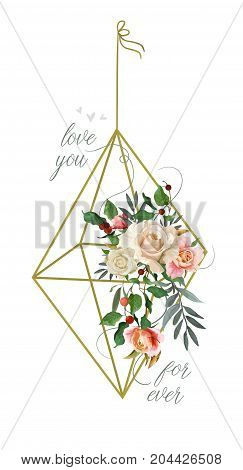 Vector floral design card: garden pink peach Rose Eucalyptus tree branch green holly leaves red berry in golden rhombus flower cage. Wedding vector invite illustration Watercolor romantic boho drawing