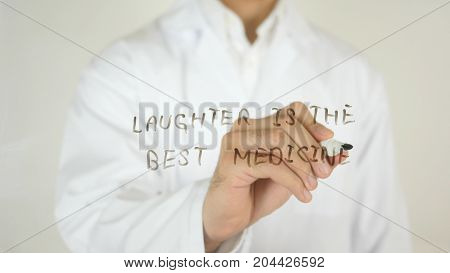 Laughter Is The Best Medication, Written On Glass By Doctor In Studio