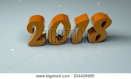 Abstract background with three-dimensional 2018 numbers. 3d rendering