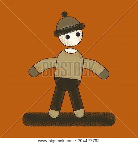 flat shading style icon snowboarder dangerous vacation