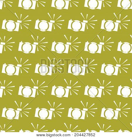 seamless vector pattern of small cameras white with flash