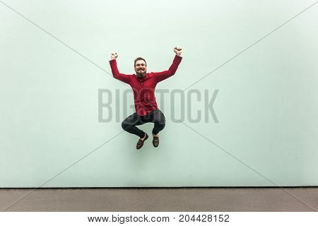 Jumping Businessman, After Receiving A New Job