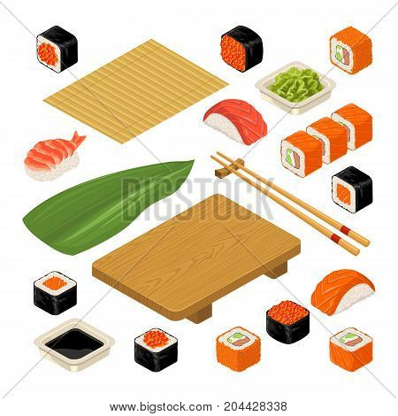 Set Sushi. Bamboo mat chopsticks wasabi soy sauce nigiri rolls and wood serving board. Isolated on white background. Vector flat color illustration. For icon and menu