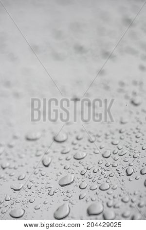 Blurred Background With Rain Drops On Window Pane
