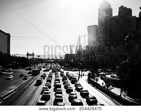 Backlight view of Las Vegas boulevard, Nevada, U.S.A.