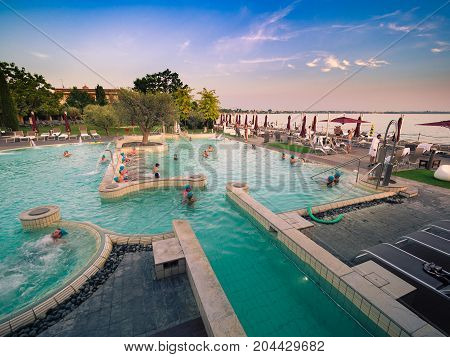 Sirmione Italy - August 3 2016: Aquaria is the Thermal Spa Center of Terme di Sirmione. A unique place surrounded by the beautiful setting of Lake Garda.