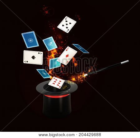 Background Magic Hat With Shine And Flying Play Cards. Isolated Black, 3D Illustration