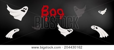 White cute and scary ghosts flying over dark fog background, Halloween word 'boo' with blood dripping, cartoon vector illustration. Vector ghost background, Halloween party, Boo scary Halloween concept.