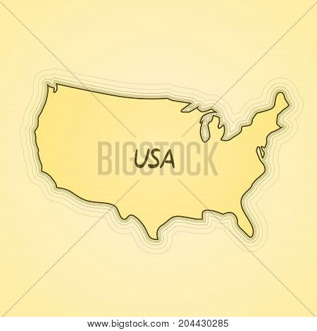 USA flag in form of map. United States of America. Retro paper vintage. Vector illustration.