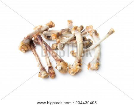 Fried chicken bones isolated on white background