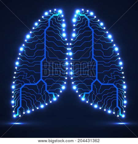 Abstract human lung technology background, vector illustration eps 10